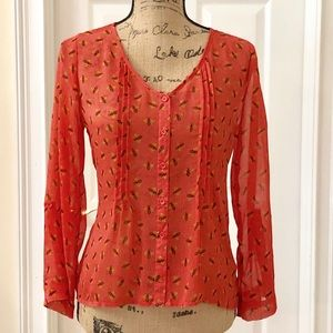 Mossimo orange bumble bee sheer blouse